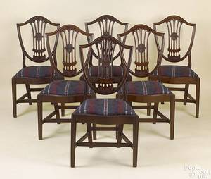 Set of 6 Philadelphia Federal mahogany shieldback dining chairs ca 1800