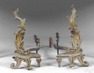 Pair of Louis XV ormolu chenets early 19th c
