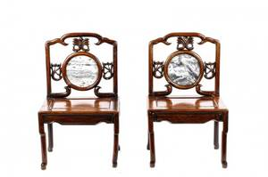 Pair of Chinese Ceremonial Hardwood Chairs