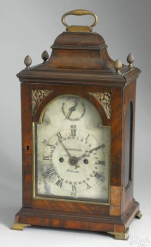 Philadelphia Chippendale mahogany bracket clock late 18th c