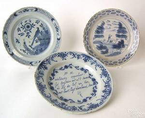 Three Delft plates 18th c