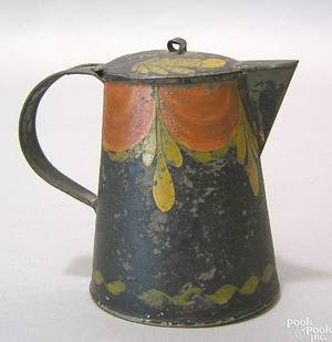 Black toleware syrup pitcher 19th c
