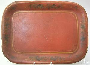 Red toleware tray 19th c
