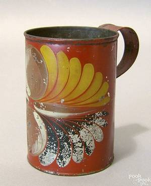 Red toleware mug 19th c