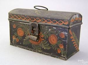 Small tole decorated tin dome lid document box 19th c