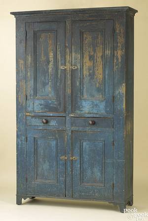 Pennsylvania painted pine wall cupboard early 19th c