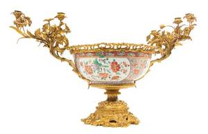 A French Gilt Bronze Mounted Japanese Porcelain Centerpiece Bowl