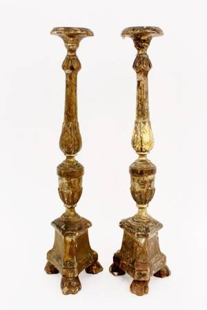 Pair of 19th C Carved Gilt Wood Candlesticks