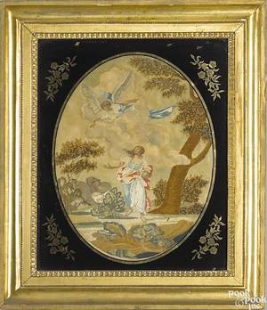 Silk and paint on silk needlework embroidery early 19th c