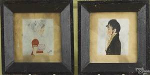 Pair of American watercolor on paper profile portraits ca 1820