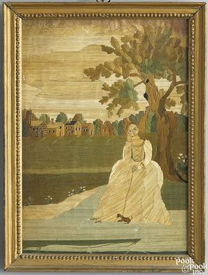 New England silk on silk needlework picture late 18th c