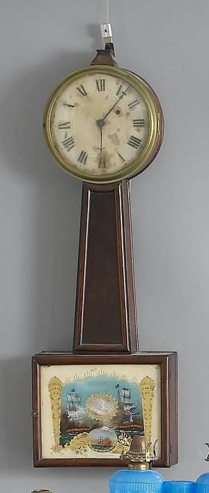 New England mahogany banjo clock ca 1815