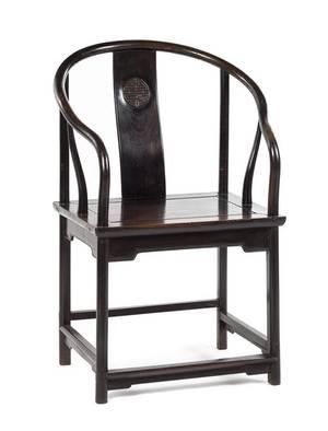 A Chinese Hardwood Horseshoe Back Armchair