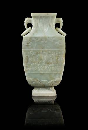 A Chinese Celadon Jade Archaistic Vase