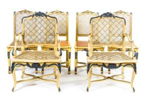 An Assembled Set of Ten Louis XV Style Painted Dining Chairs