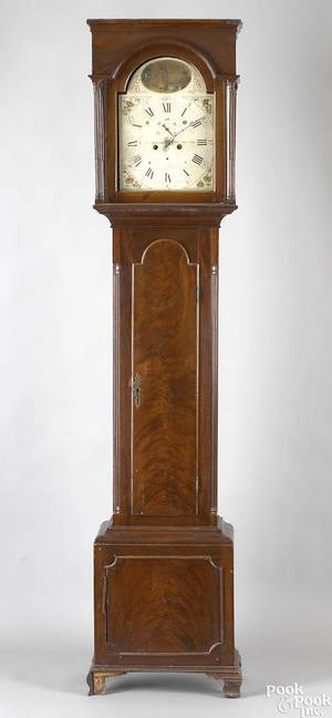 Philadelphia Chippendale mahogany tall case clock ca 1795