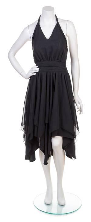 A Balenciaga Black Silk Halter Dress