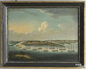 China Trade oil on canvas harbor scene mid 19th c