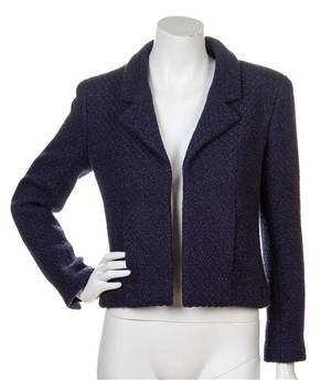 A Chanel Navy Wool and Angora Jacket