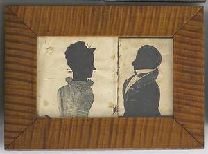 Two American hollow cut silhouettes 19th c