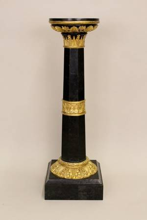 A Black Marble  Gilt Wood Pedestal