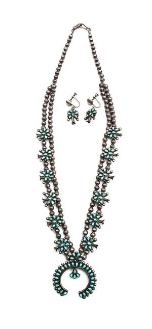 A Zuni Miniature Petit Point Silver and Turquoise Squash Blossom Necklace