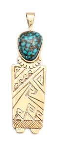 A Hopi 14 Karat Gold Silver and Lander or Red Mountain Turquoise Pendant Watson Honanie