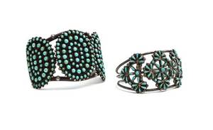 Two Zuni Silver and Turquoise Bracelets