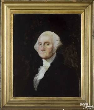 China trade reverse painted portrait of George Washington early 19th c