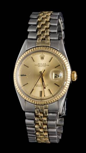 A Stainless Steel and 14 Karat Yellow Gold Ref 1601 Datejust Wristwatch Rolex Circa 1965