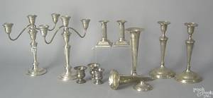 Group of weighted sterling silver table articles to include a pair of candelabra
