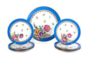 A Collection of Nine Dresden Porcelain Plates