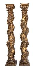A Pair of Continental Painted and Gilt Solomonic Columns