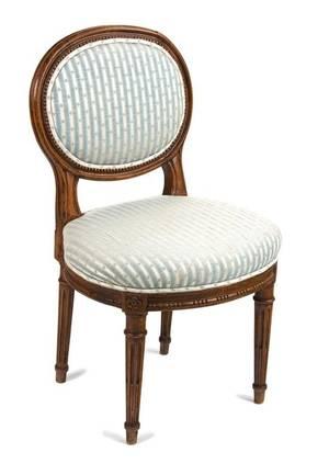 A Louis XVI Style Walnut Diminutive Side Chair