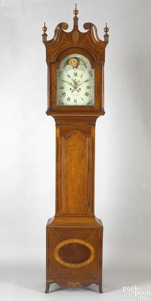 Lancaster County Pennsylvania Federal cherry tall case clock ca 1805