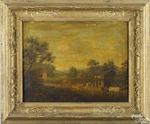 American Schoolmid 19th c  Oil on canvas landscape depicting a Conestoga wagon figures and houses 20 x 26