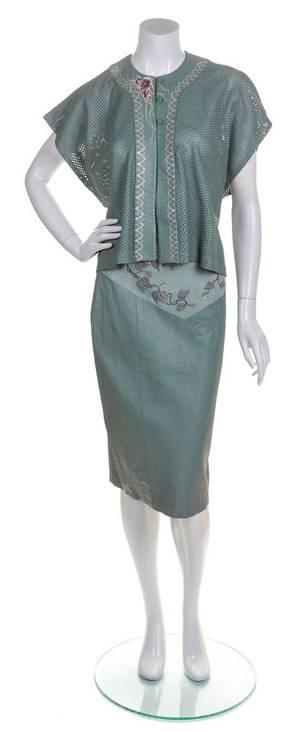 A Grass Orchids Green Leather Skirt Ensemble
