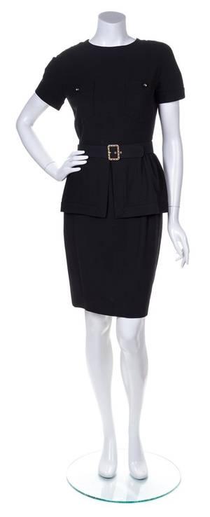 A Chanel Black Wool Skirt Ensemble