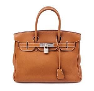 An Hermes Gold Taurillon Clemence 30cm Birkin Handbag