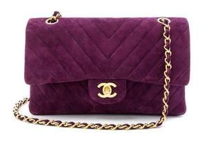 A Chanel Purple Suede Chevron Flap Handbag
