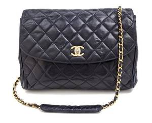 A Chanel Navy Quilted Leather Flap Handbag