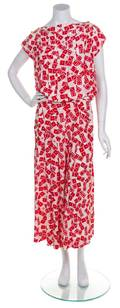 A Chanel Red and White Pleated Silk Dress