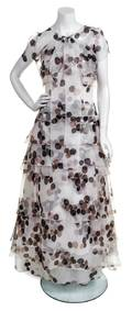 A Carolina Herrera Cream Silk Polka Dot Strapless Gown