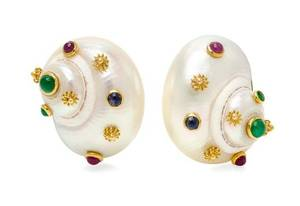 A Pair of 18 Karat Yellow Gold Shell and Multigem Earclips MAZ