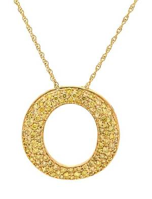 A 14 Karat Yellow Gold and Colored Diamond Pendant