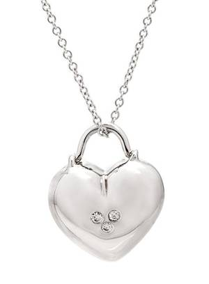 An 18 Karat White Gold and Diamond Heart Pendant Tiffany  Co