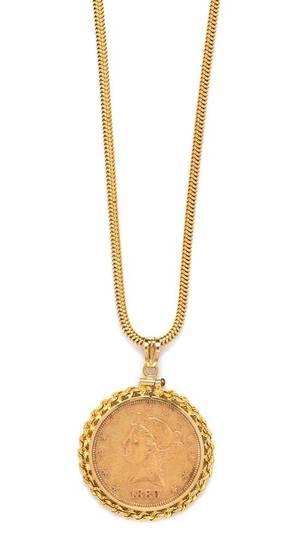 A 14 Karat Yellow Gold and US 10 1908 Liberty Head Coin Pendant