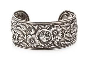 A Vintage Sterling Silver Floral Motif Repousse Cuff Bracelet S Kirk  Son