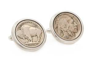 A Pair of Sterling Silver and US Buffalo Nickel Coin Cufflinks