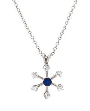 A 14 Karat White Gold Sapphire and Diamond Snowflake Pendant